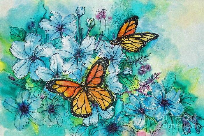 Нежные цветы и бабочки фото